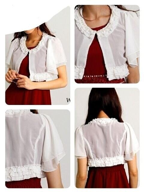 I1843 新品 F ボレロ ホワイト パール フリル シフォン 姫 < 女性ファッションの