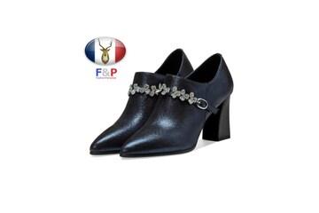 ラムレザー飾り物付きシューティーブーティパンプス子羊革靴