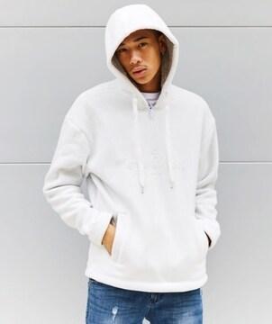 タグ新品ゲスGUESSフード帽子パーカスウェットトップス/ホワイト