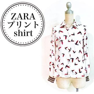 【ZARA】鳥柄×ボーダー.プリント.レディース長袖シャツ
