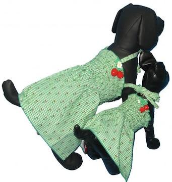 J14)Sサイズ!チェリー付チェックワンピース緑犬服Dog姫さくらんぼセレブワッペン