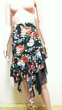 極美品☆大薔薇が綺麗なしふぉん&アシメスカートB81☆3点で即落