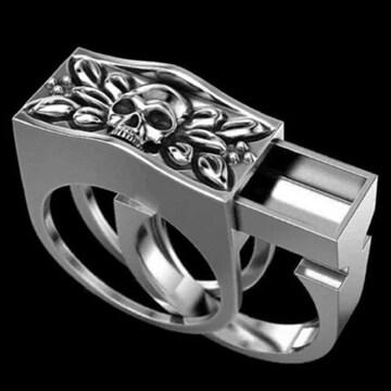 髑髏 ドクロ スカル リング 指輪 スライドリング ボックス