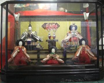 日本の伝統雛飾、利久作「親王飾り」ケース入時代物0302