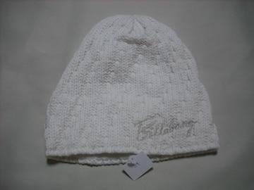 wb154 女 BILLABONG ビラボン ニット帽 内側フリース 白