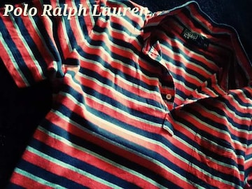 【POLO】ラルフローレン Vintage Washed ボーダーポロシャツ XL/Red