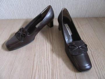 人気超美品&国産★studio BLANCNOIR★革/茶/23.5★送510円可