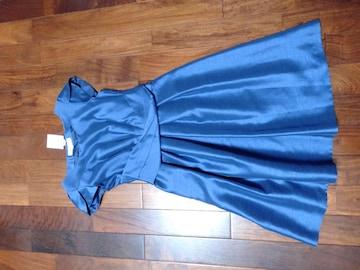 ロペピクニック青ブルー光沢ドレスドレープ姫ワンピース濃紺綺麗