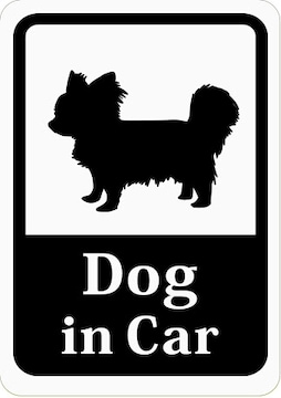 Dog in Car 「チワワ/パピヨン/小型犬」 車用ステッカー (マグ