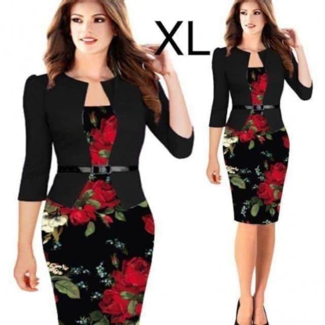 新品☆重ね着風♪花柄♪綺麗ワンピース XL  < 女性ファッションの