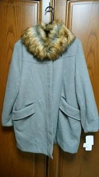 【大きいサイズ】とっても素敵なコート。衿取り外し可能。新品