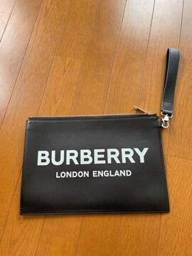 本物 美品 バーバリー クラッチバッグ ロゴプリント Burberry