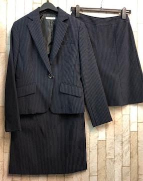 新品☆9号♪紺×ストライプ系のスカート2種類付スーツ♪☆j345