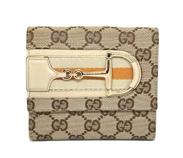 正規美品グッチ財布二つ折りGGキャンバスホースビットGU