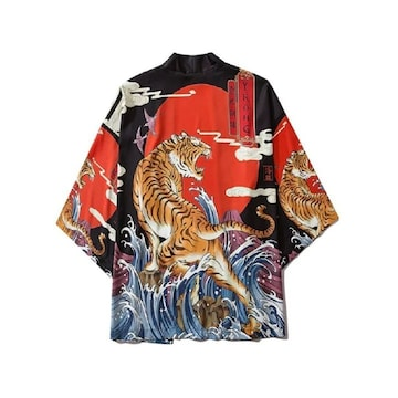 虎 トラ 法被 着物 浴衣 フリーサイズ