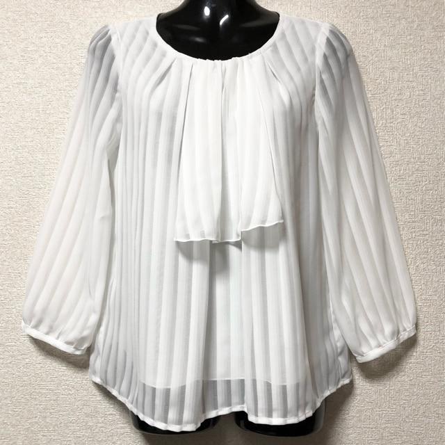 【新品】ストライプ織シフォン☆ジャボ付シアーブラウス < 女性ファッションの