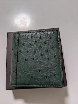 オーストリッチ革2つ折財布新品グリーン-2
