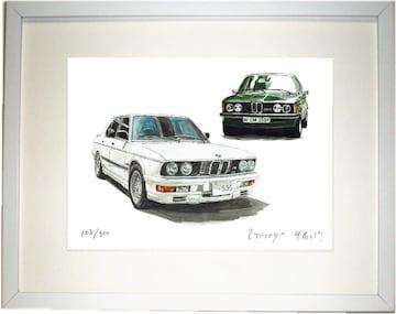 GC-1314 BMW 323i/M535i限定版画サイン額装作家平右ヱ門