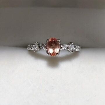 ダイヤモンド×インペリアルトパーズ リング Pt900 0.55ct 4.4g