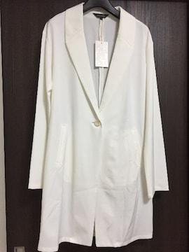 新品タグ付rienda10260円リエンダロングジャケット白ホワイト