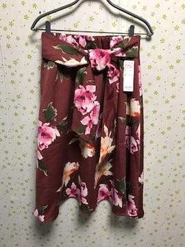 Lサイズ ウエスト太リボンベルト付き 花柄 フレアスカート