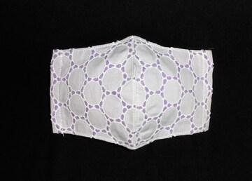 即決◆縁取り白サークルレース×ラベンダー紫下地◆ファッションマスク