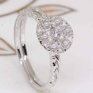 指輪18KRGPプラチナ高級CZフラワー一粒セットリングyu1028e