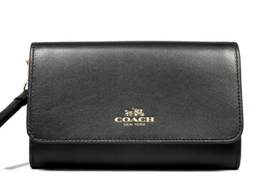 正規未使用コーチ限定ミディアム財布レザーブラック黒フォ