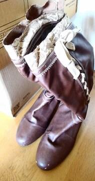大きいサイズ ブーツ ロングブーツ 27.0 4E 幅広 ブラウン 茶 編