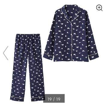 GU・猫リボンキャット柄ネイビーサテン長袖パジャマ