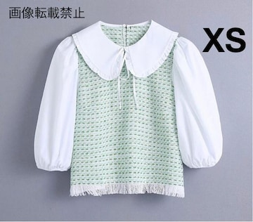 ツイード ドッキング シャツ ブラウス ZARAお好きな方に★ XS