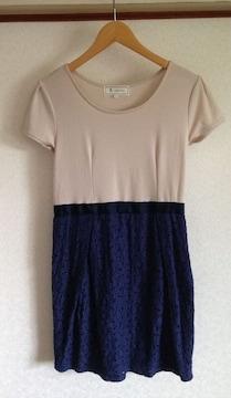 ロペピクニック★ブルーレーススカート ワンピース 38サイズ