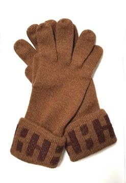 正規美品エルメス手袋カシミヤブラウンLAHマークニットグ