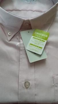 5Lサイズ消臭&抗菌効果!清潔感溢れる淡いピンク色!半袖ボタンダウンYシャツ