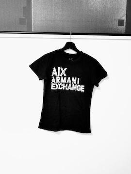 ARMANI EXCHANGE◆デカロゴスタッズTシャツ黒 S◆アルマーニ