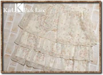 カールパークレーン 刺繍入りシフォンティアードスカート