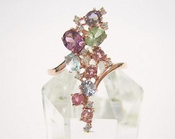 送込 『マルチ宝石』 デザインリング 指輪 K14PG仕上げ