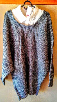 新品 襟付き セーター ニット 大きいサイズ 黒 グレー LL たっぷ