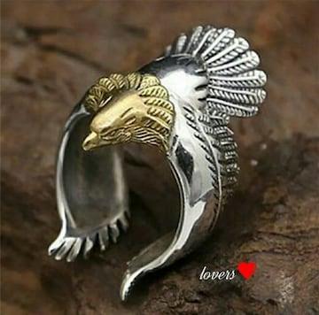 送料無料22号シルバーゴールドビッグメタルイーグルリング指輪