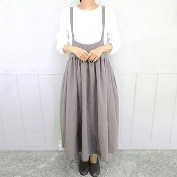 新品[7699]XXXL(大きいサイズ)グレー★サロペット風可愛いロングスカート