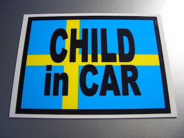 CHILD IN CARスウェーデン国旗ステッカー□かわいい☆