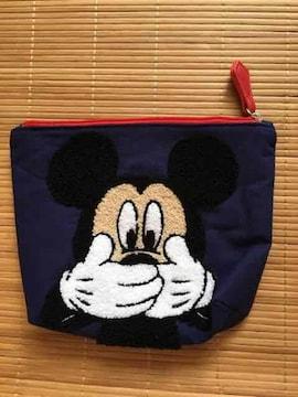 ディズニー・ミッキーマウスサガラ刺繍ポーチ。ネイビー