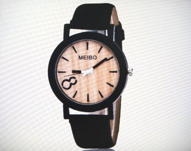 腕時計 レディース おしゃれ 木目調文字盤 ブラックベルト  < 女性アクセサリー/時計の