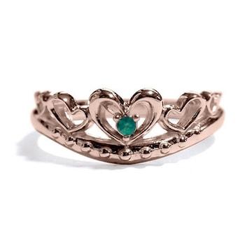 【5月の誕生石エメラルド】シルバー925リング 指輪 ティアラ