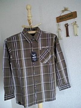 バッドボーイ新品ブラウンチェック長袖シャツ130