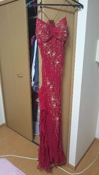 赤レッドビーズロングドレスキャバホステスagehaRadyセクシーなドレス銀座ホステス