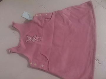 130 裏起毛 ピンクのジャンパースカート 新品