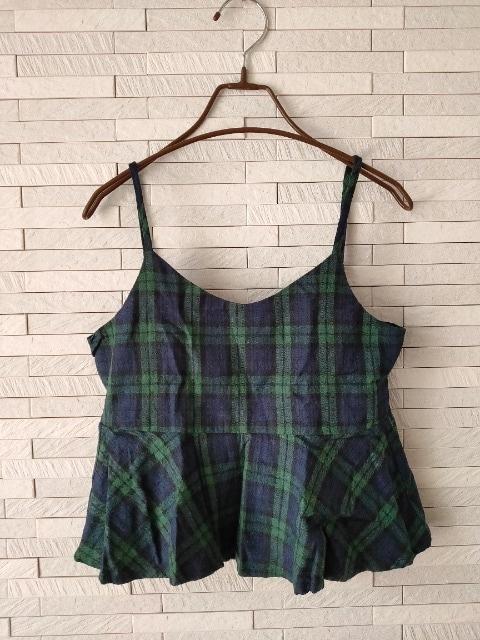 Honey Drop/タータンチェック/ペプラムキャミソール/緑×紺/M  < 女性ファッションの