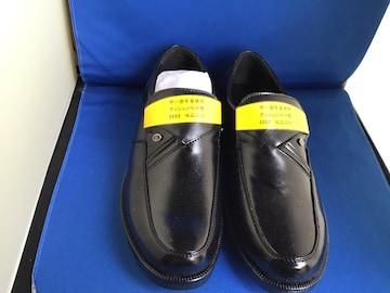 軽量幅広4E黒のビジネスシューズ24、5cm 冠婚葬祭に履きやすい