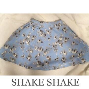 【限定SALE】SHAKE SHAKE●フラワーフレアスカート●水色ブルー